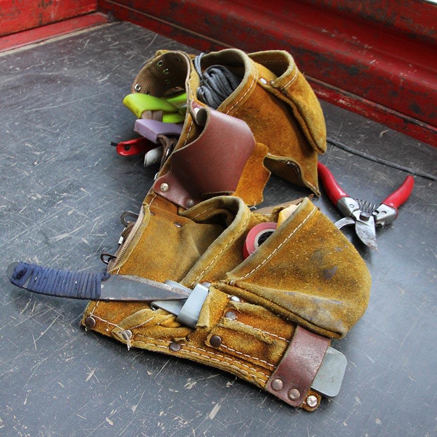 工具腰帶裝了果園管理所需的各式工具。
