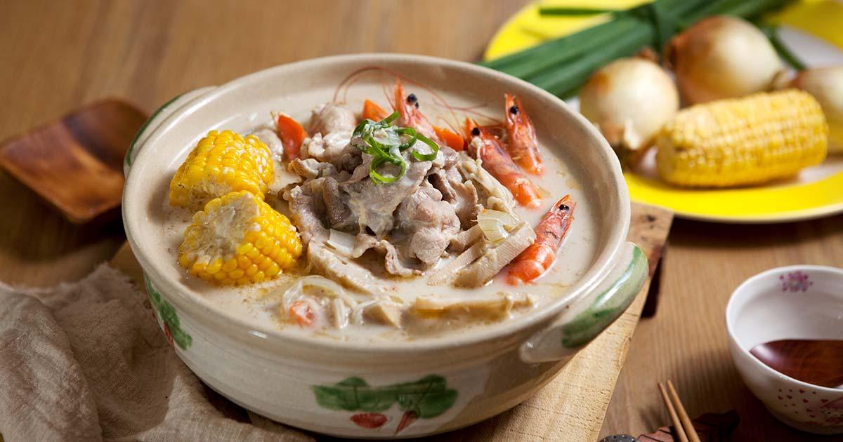 牛肉鮮蝦牛奶鍋,牛脂白玉鮮奶鍋