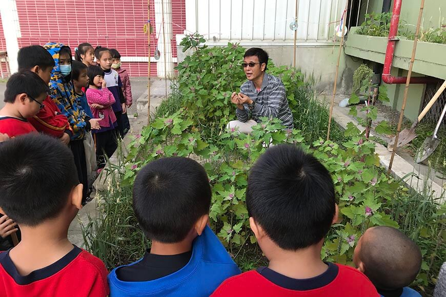 校園可食地景: 老師向學生介紹紅藜、小麥、芝麻、黃豆。做中學是最好的教育方式,我帶領特教班孩子在校園遍植蔬菜雜糧,設置食農廊道,掛上說明牌;隨著四季流轉,讓校園四周的雜糧、蔬果向孩子進行無聲教育,營養師也熱心地在白米飯中加入各種雜糧均衡營養。普通班孩子發現小麥、紅藜、蕎麥、黃豆、絲瓜、番茄等作物成長時,會奔相走告,於是我也邀請普通班及幼兒園一起加入種植行列。看見一群孩子下課時深情望著自己種的雜糧,澆水、丈量高度;豪大雨積水時,孩子們心疼作物浸泡在水中,奮力為雜糧撐傘擋雨,拿著水桶疏導積水,實在令人感動。